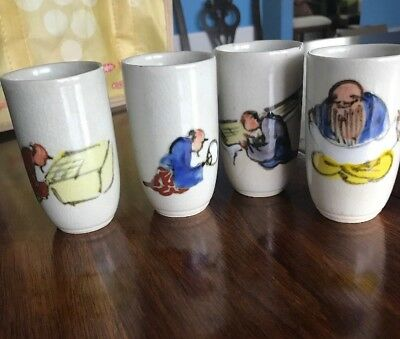 Vintage Set of 4 Sake Cups White Painted Characters Ceramic