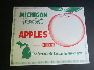 """Vintage 1960s Grocery Store Window Sign Michigan Apples """"As Seen in Look"""" a"""