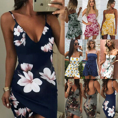 Sexy Womens V-Neck Floral Party Summer Cocktail Clubwear Mini Bodycon Dress AU