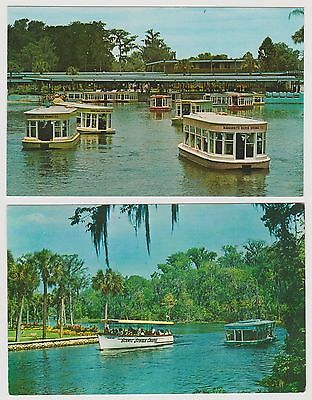 Lot of 2 Postcards Chrome  Silver Springs Florida  Famous Glass Bottom Boats