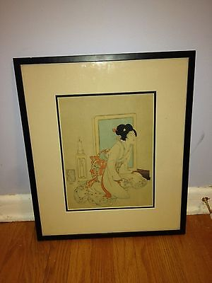Museum Quality Antique Japanese Woodblock Print Geisha Woman Candle Vanity Wow