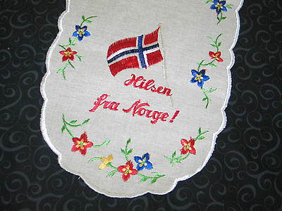 Delightful Vintage Norwegian Table Runner~HILSEN FRAU NORGE-Hello from Norway