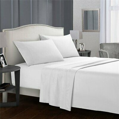 1000TC EGYPTIAN COTTON 4 Pcs Bed Fitted Flat Sheet Set Pillowcase Home Hotel LDS
