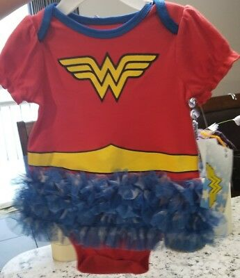 DC Comics Wonder Woman Infant One-piece 6/9 Months with Tutu New ADORABLE!!!
