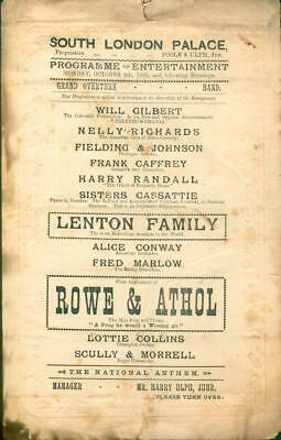 Theatre Program South London Palace Vaudeville Circus AVOLO Ads Comedy 1885 RARE