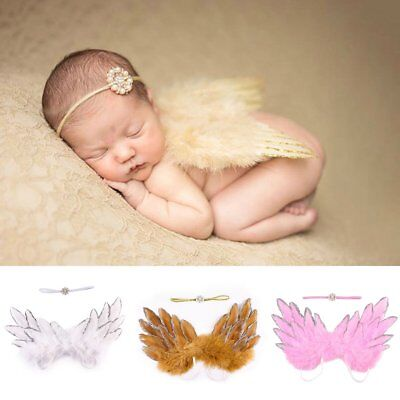 Cute Angel Wings Costume Photo Newborn Baby Girl Photography Prop Outfit Set HUK