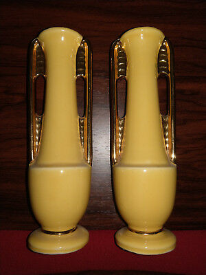 Vintage Shawnee Pottery Art Deco Ceramic Bud Vases Pair Usa 1178
