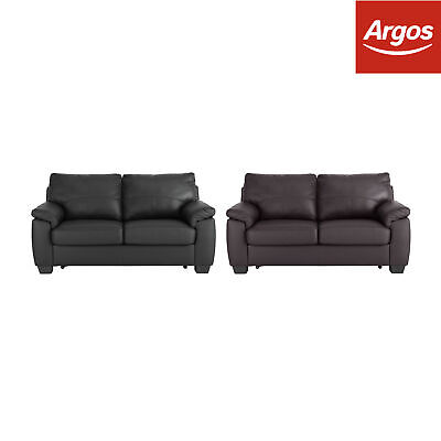 Argos Home New Logan Leather/Leather Effect Sofa Bed - Black/Chocolate