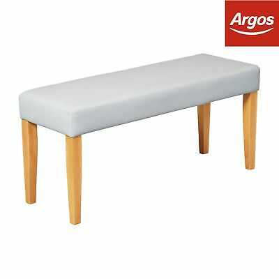 Argos Home Upholstered Faux Leather Bench- Grey