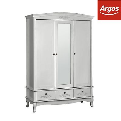 Argos Home Sophia 3 Door 3 Drawer Mirror Wardrobe - Silver.