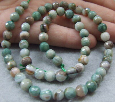 """8SE10860 6mm Green Round Faceted Agate Gemstone Loose Beads 14.5"""" Strand"""
