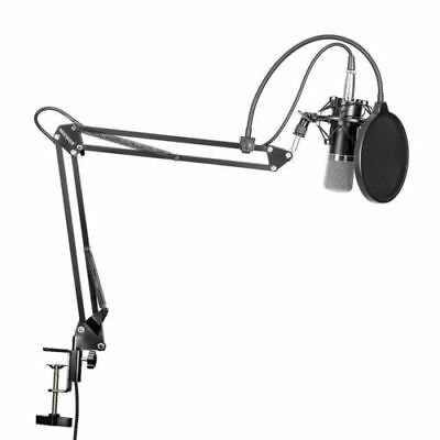 Pro Condenser Sound Podcast Studio Microphone Mic &Arm Stand For PC Laptop Skype