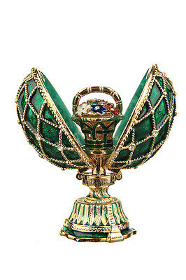 Decorative Faberge Egg with Basket of Flowers 2.8'' (7 cm) green