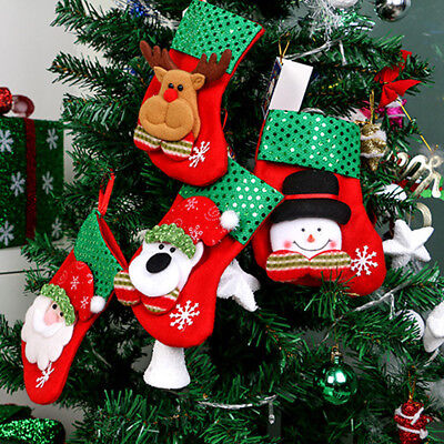 Christmas Stocking Mini Sock Santa Claus Candy Gift Bag Xmas Tree Hanging Decor
