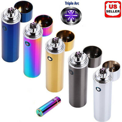 Electric USB Rechargeable Triple Arc 5 Cross Plasma Windproof Flameless Lighter