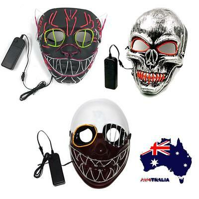AU Halloween LED Scary Mask Glowing Flashing EL Wire Light Up Cosplay Costume