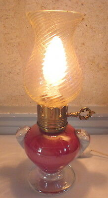 Murano lampe rouge et incrustation or