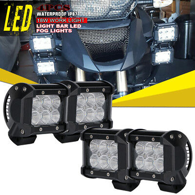 4x4inch Flood Led Work Light Pods Offroad Lamp For Yamaha Grizzly Suzuki ATV 12V