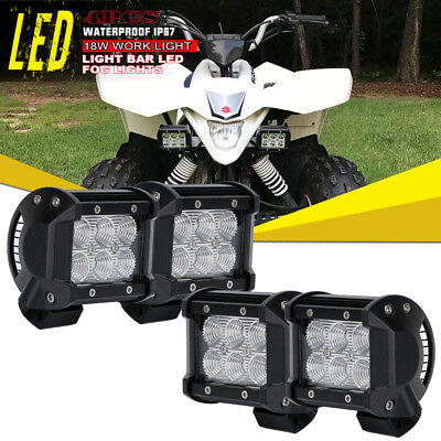 4x4Inch Cube Pods Flood LED Fog Light Off Road Work Light For Yamaha Recon Honda