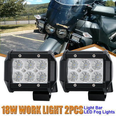 Pair 4Inch Cube Pod Flood LED Fog Lamp Off Road Work Lamp For Kawasaki Kymco ATV