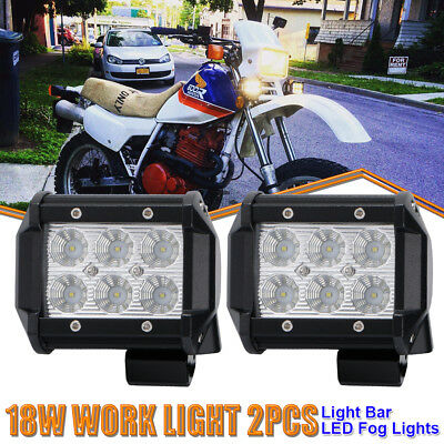 Pair 4inch 18W Flood Led Work Light Cube Pods Offroad Yamaha Raptor Grizzly ATVs