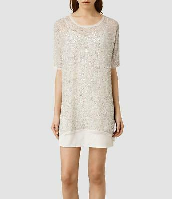 All Saints Marble Embellished/Beaded Dress Oyster £198 Size 12/14  BNWT