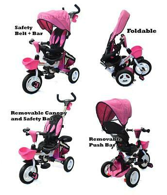 Safe Foldable Tricycle Toddler Kid Pram Stroller Ride on Trike Control Handle PN