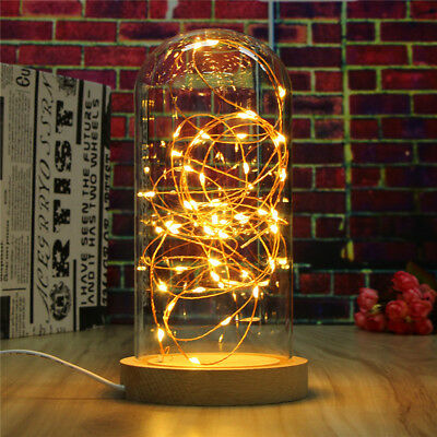 LED Fairy String Desk Table Wire Lamp Night Light Wood Base Bedroom Home Gift US