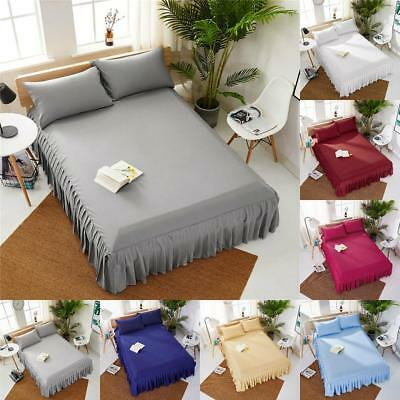 Wrap Around Elastic Plain Ruffle Bed Skirt Mattress Cover Polyester Home Bedroom