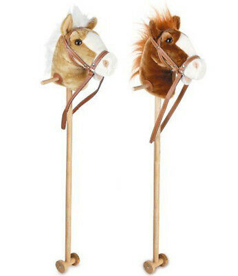 Childrens Kids Wooden Hobby Horse with Galloping Neighing Sounds Classic Toy