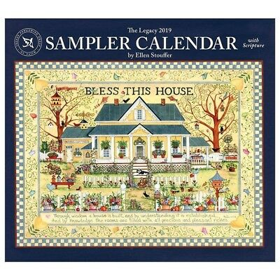 NEW Sampler By Ellen Stouffer 2019 Legacy Wall Calendar With Scripture Free Post