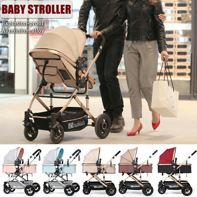 Foldable Baby Stroller Pram Travel Pushchair With Explosion-proof Rear Wheel
