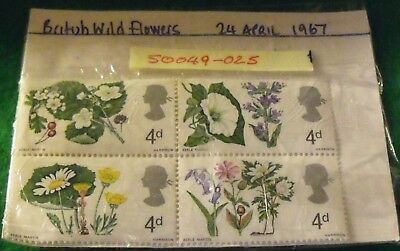 52 year old stamps-1967  BRITISH WILD FLOWERS SET unfranked