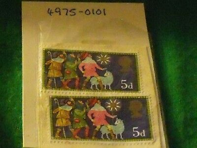 50 year old stamps- GB VARIETY USED PRE-DECIMAL 5D 1969 STAMPs unfranked