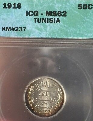 Tunisia, 50 Centimes. ICG MS62 Uncirculated. KM#237. Beautifully toned silver.
