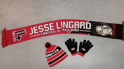 UNITED HAT,Utd GLOVES AND A JESSE LINGARD  of Man Utd scarf. CHRISTMAS GIFTS