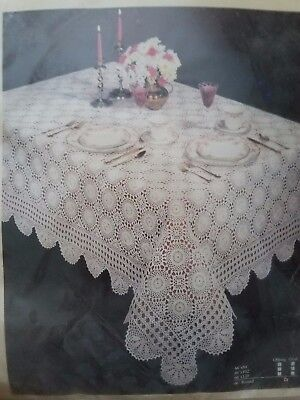 "66""  Vintage Lace Banquet Tablecloth Hand Crocheted 100% Cotton Nib"