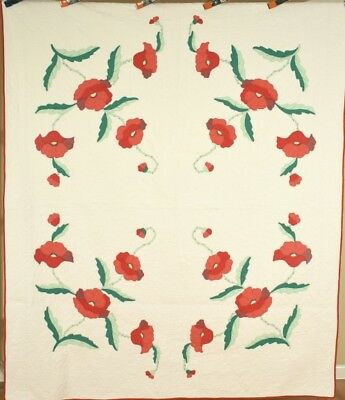 NICELY QUILTED Vintage 30's Poppy Applique Antique Quilt ~BEAUTIFUL DESIGN!