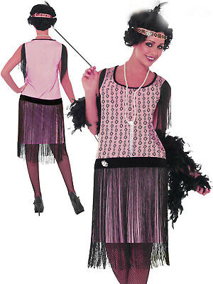 20sGatsby 1920's Flapper Dress Cocktail Pink Charleston Black Fringed Plus Size
