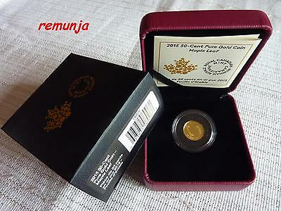 2015 Canadian 50 Cent Fine Gold Coin 1/25 Oz *maple Leaf On Canadian Flag* Proof