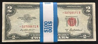 $100 face Lot of 50 1953 $2 Red Seal ALL *STAR NOTE* US Notes! (No 1963) NO JUNK