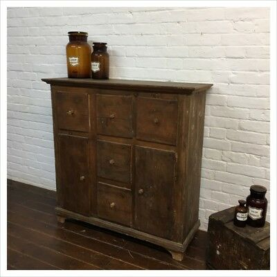 Industrial Vintage Hungarian Farmhouse Rustic Antique Kitchen Cupboard Drawers