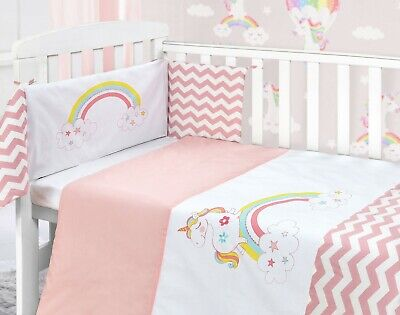 Unicorn Baby Pink Girl Nursery Bedding Bale Stars Quilt Bumper Sheet Set Cot Bed