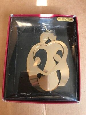 Vintage Brass 24K Gold Plated Finish 3D Love family 2P Ornament by Ringmaster.