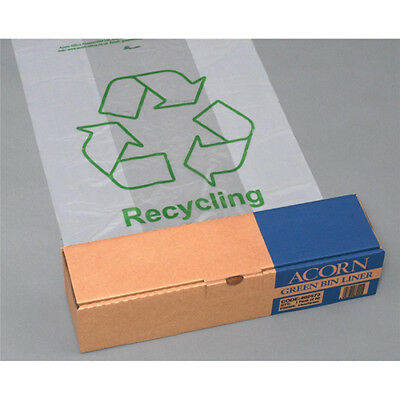 Acorn Green Bin Liners Capacity 60 Litres 630x860mm Clear and Printed Ref 402573