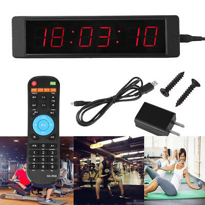 Programmable LED Remote Wall Clock Prscise Timer Stopwatch for Tabata Fitness UK