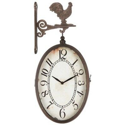 Rooster Clock Vintage Style Double Sided Hanging Metal Frame Farmhouse Cabin New