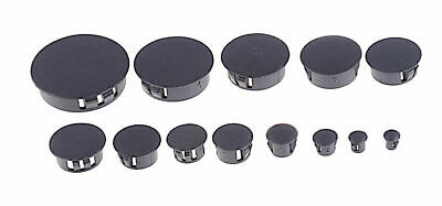 10 Pack - Locking Hole Plug Cap Black Hard Plastic Nylon Panel Sheet Metal Auto