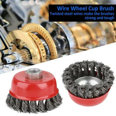 "4 x Metal Wire Wheel Cup Brush Crimped with 3/4"" Shank For M14 Die Grinder Drill"