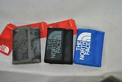 New The North Face Base Camp Wallet Black Camo Blue Trifold Free Ship